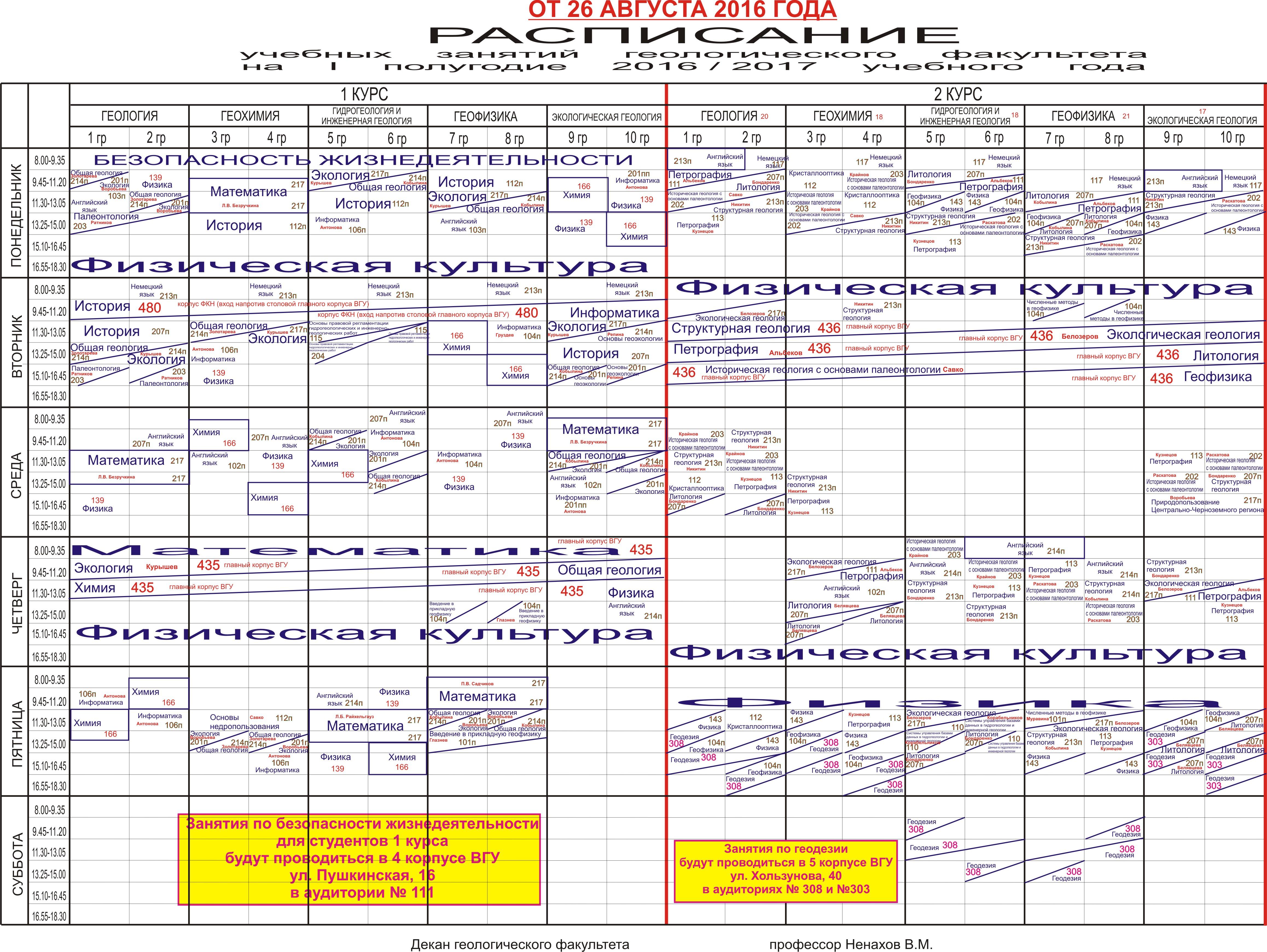 Расписание занятий для студентов 2 курса скачать